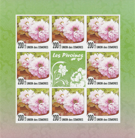 Flowers, The Peonies, nature, Imperforate souvenir sheet of 8 stamps, MNH