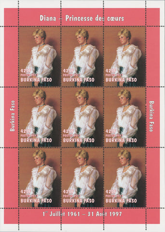 Princess Diana Block of 9 stamps Mint NH