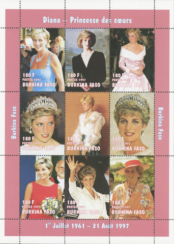 Princess Diana Royal family Block of 9 stamps Mint NH