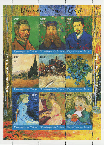 Vincent Willem van Gogh  Paintings Art Block of 9 stamps Mint NH