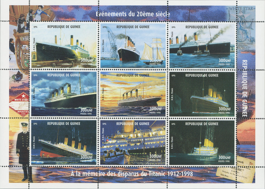 Titanic Ships Transports Block Souvenir of 9 stamps Mint NH