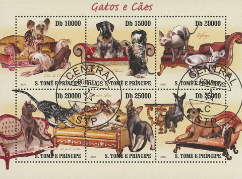 Cats Dogs Souvenir Sheet of 6 Stamps
