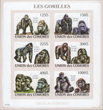 Monkeys Gorillas Animals Block Imperforate Souvenir of 6 stamps Mint NH