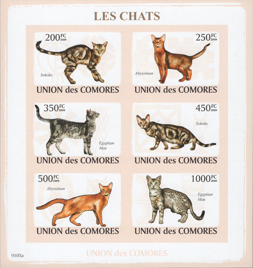 Cats Imperforated Block Souvenir of 6 stamps Mint NH
