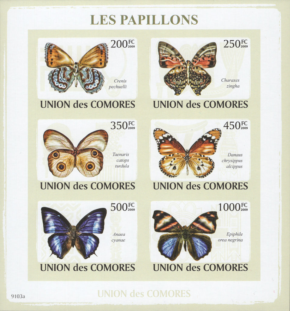 Butterflies Insects Imperforated Block Souvenir of 6 stamps Mint NH