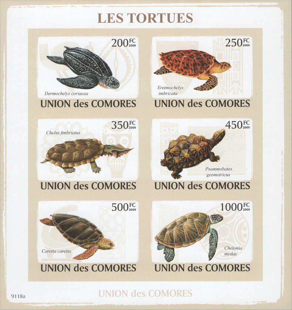 Turtles Animals Nature Imperforate Souvenir Sheet of 6 Stamps Mint NH