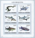 Sharks, Animals, Nature, Imperforate souvenir sheet of 6 stamps, Mint NH