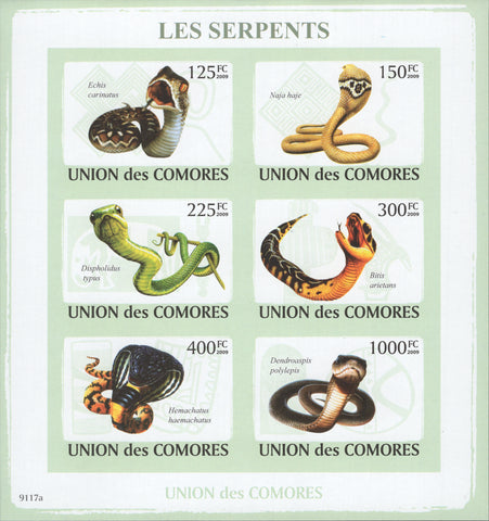 Comoros, Snakes, Reptiles, Animals, Nature, Imperforate souvenir sheet of 6 stam