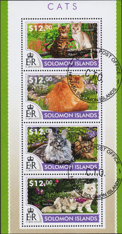 Solomon Islands - Cats - Stamp Souvenir Sheet of 4