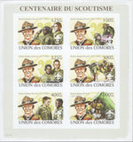 Centenary of the Boy Scouts , Imperforate Souvenir Sheet of 6 stamps, M