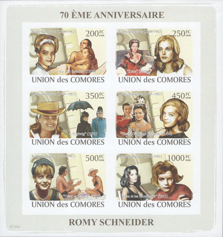 Comoros, Rommy Schneider, famous actress, celebrity, Cinema, Imperforate Souveni