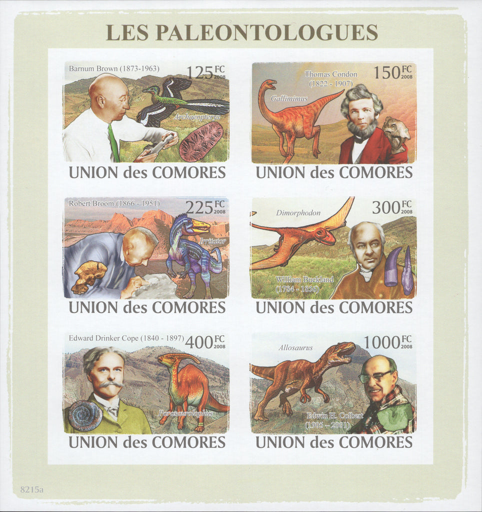 Paleontologists, Science, Imperforate Souvenir of 6 stamps, Mint NH