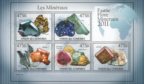 Minerals Nature Souvenir sheet of 5 stamps Mint NH.