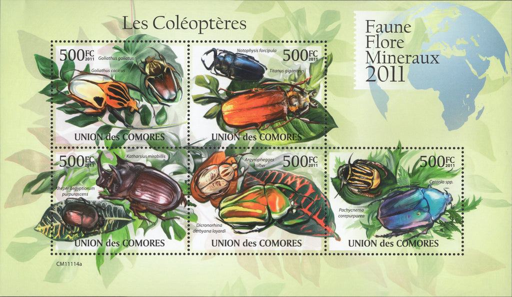 Insects, Nature, Souvenir sheet of 5 stamps, Mint NH.