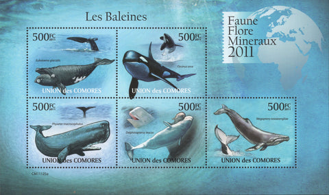Fauna Whales Orca Ocean Souvenir Sheet of 5 Stamps Mint NH