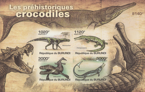 Prehistoric Crocodiles Imperforated Souvenir Sheet of 4 Stamps MNH