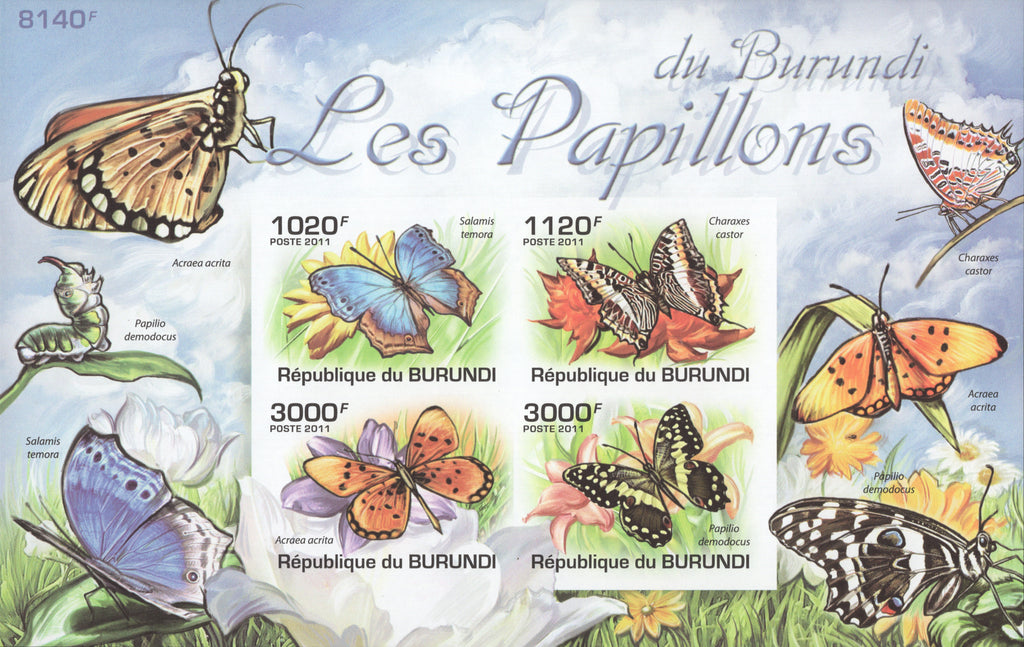 Butterflies Exotic Imperforated Souvenir Sheet of 4 Stamps MNH