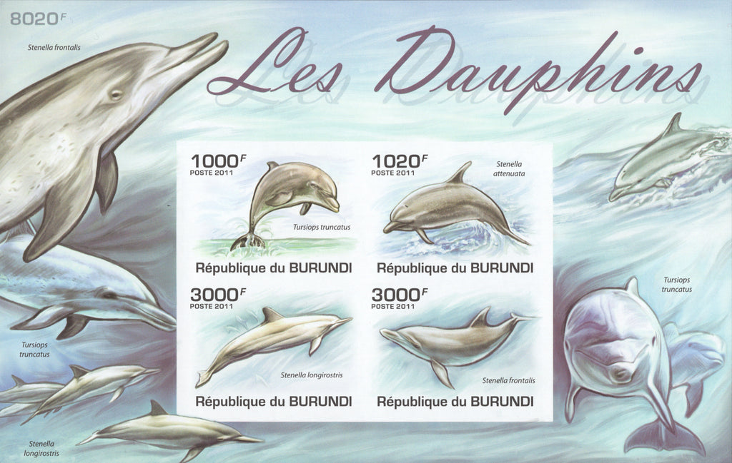Dolphins Ocean Waves Imperforated Souvenir Sheet of 4 Stamps MNH