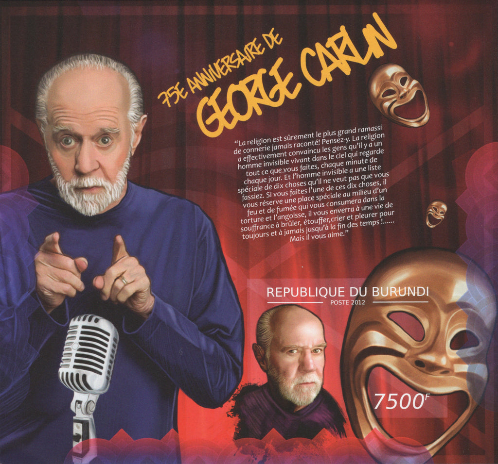 George Carlin Anniversary Imperforated Souvenir Sheet MNH