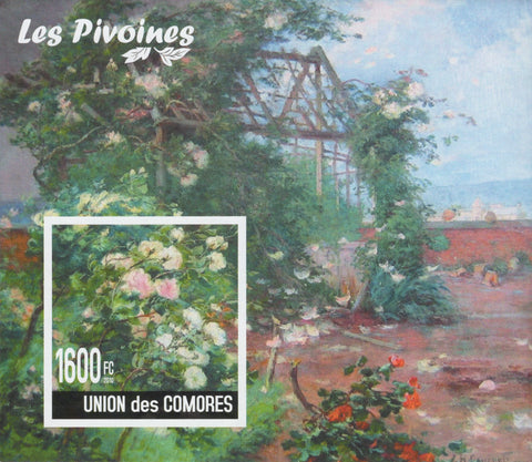Peonies Flowers Plants Nature Imperforated Souvenir Sheet MNH
