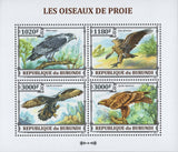 Prey Birds Mountains Trees Souvenir Sheet of 4 Stamps MNH