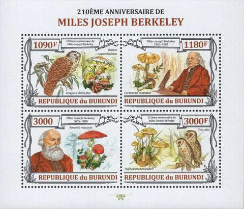 Miles Joseph Berkeley Owl Mushrooms Sov. Sheet of 4 Stamp MNH