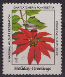 National Wildlife Federation Cinderellas 1984 Gnatcatcher and Poinsettia MNH