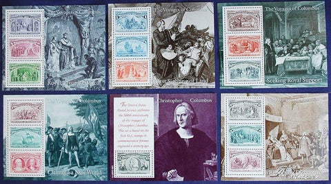 USA Stamps 1992 Christopher Columbus Voyages Souvenir Sheets Set of 6 MNH