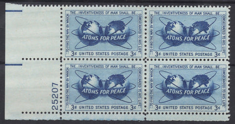 USA Stamps Atoms For Peace 62 Year Old Vintage Stamp of 4 1955 MNH