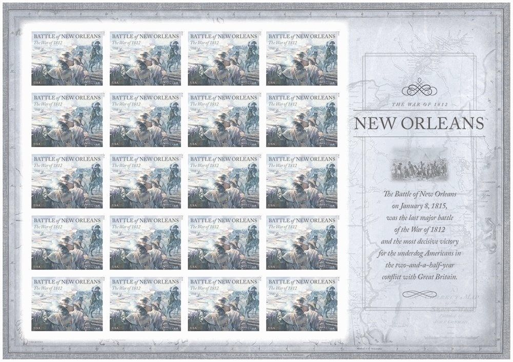 USA Stamps War 1812 Battle of New Orleans Imperf NDC sheet MNH 2015