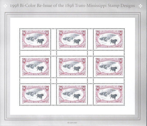 USA stamps, 1898 Trans-Mississippi 1998 Re-Issue, Sheet of 9  MNH