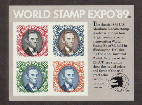 USA Stamps World Stamp Expo 1989 U.S. Stamps MNH  Souvenir Sheet of 4