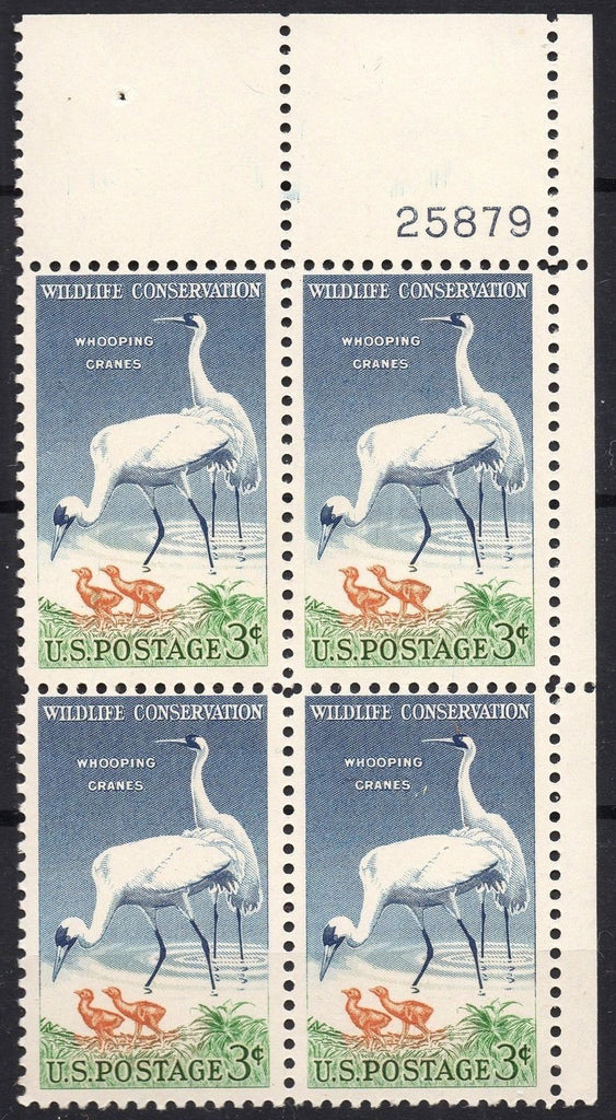 USA Stamps 1957 3c Whooping Cranes Wildlife Conservation MNH Vintage