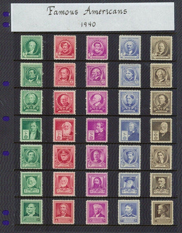 USA Stamps, 1940 Famous American Series Complete Set of 35 Stamps