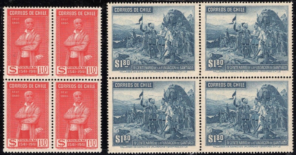 Chile Stamps Sc 213 214 1941 2 Blocks Of 4 MNH