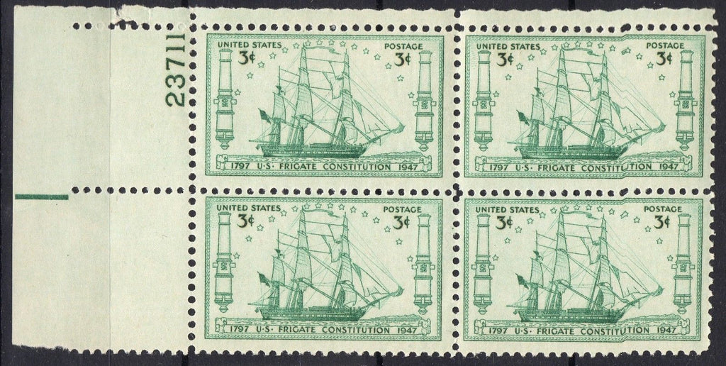 "USA Stamps 1947 ""Old Ironsides"" Frigate Constitution Ann. Block of 4 MNH"