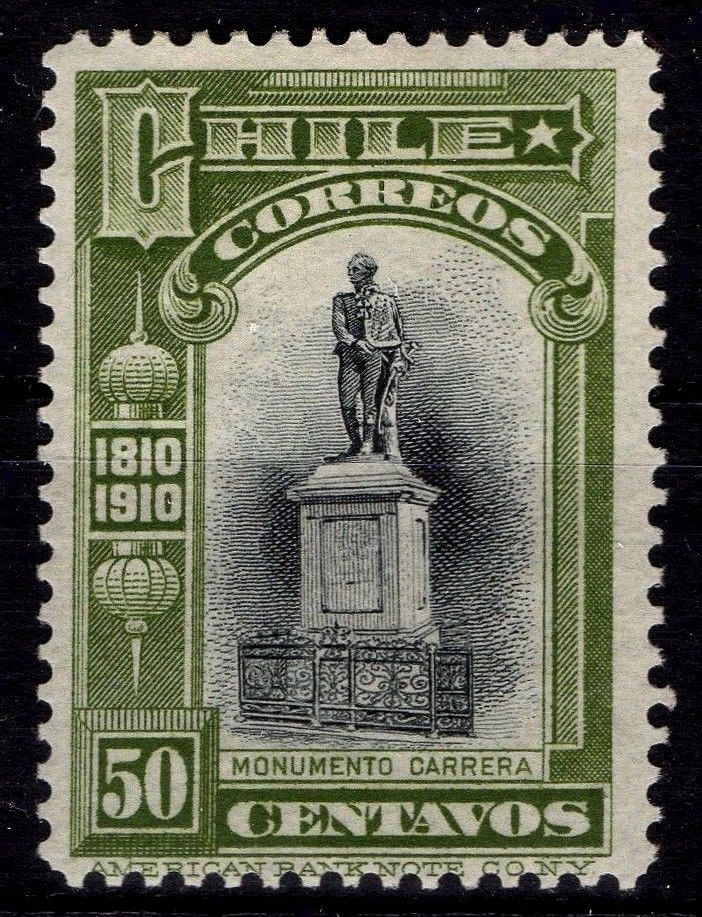Chile Stamp 1910 Carrera 50cts Independence Centenary MH