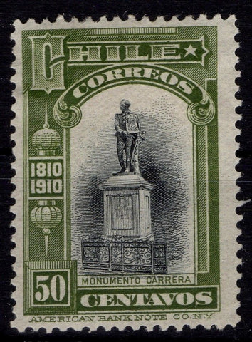 Chile Stamps 1910 Carrera 50cts Independence Centenary MH