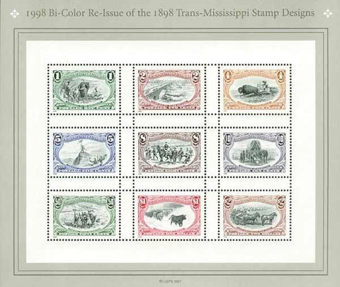 USA Stamps 1998 Bi-Color Re-issue of 1898 Trans-Mississippi Stamp Design MNH