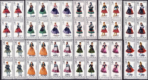 Spain stamps, 1967 Regional Costumes, 12 MNH blocks of 4 (Lot 1)
