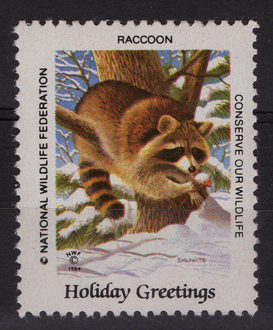 National Wildlife Federation Cinderellas 1984 Holidays Issue Racoon MNH