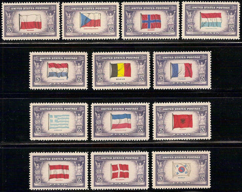 USA Stamps 1943-4 Overrun Nations Flags Set of 13 Stamps MNH Lot