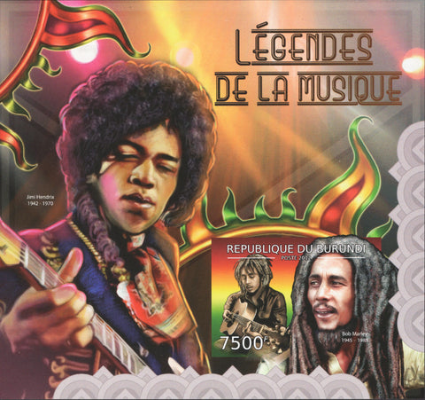 Legends of Music Jimi Hendrix Music Rock Star Guitar Souvenir Sheet MNH