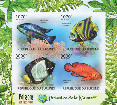 Nature Protection Fish Imperforated Souvenir Sheet of 4 Stamps Mint NH