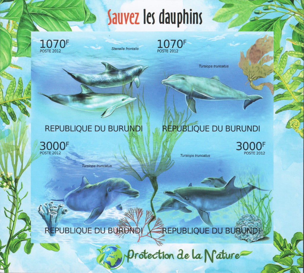 Nature Protection Save Dolphins Imperforated Sov. Sheet of 4 Stamps MNH
