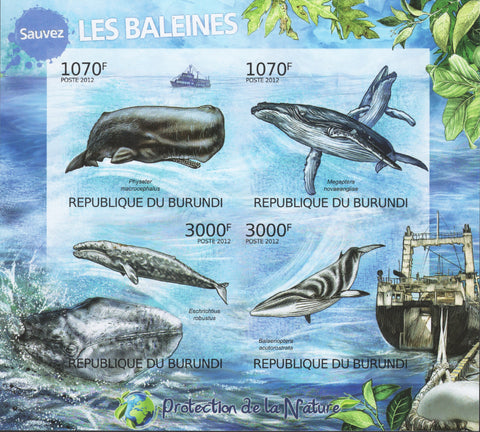 Nature Protection Whales Imperforated Sov. Sheet of 4 Stamps MNH