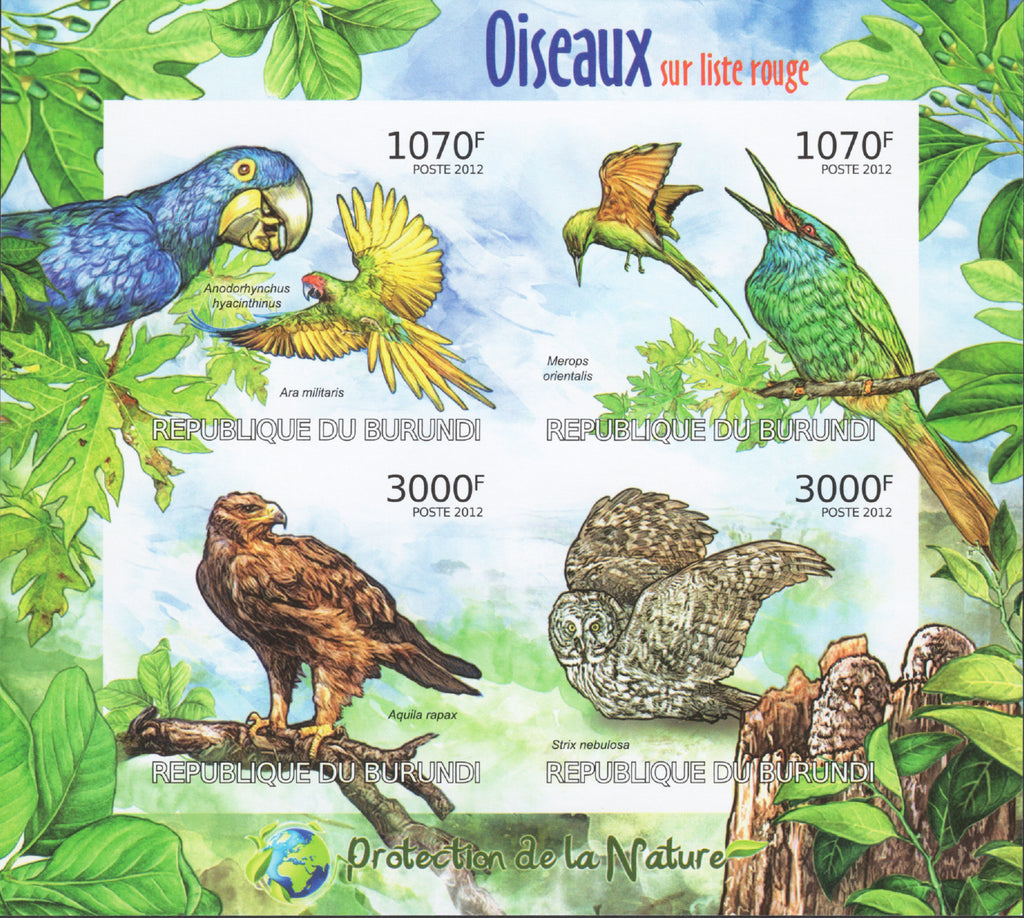 Nature Protection Birds Parrot Imperforated Sov. Sheet of 4 Stamps MNH