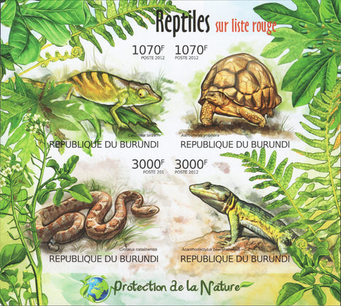 Reptiles Turtle Snake Chameleon Imperforated Sov. Sheet of 4 Stamps MNH