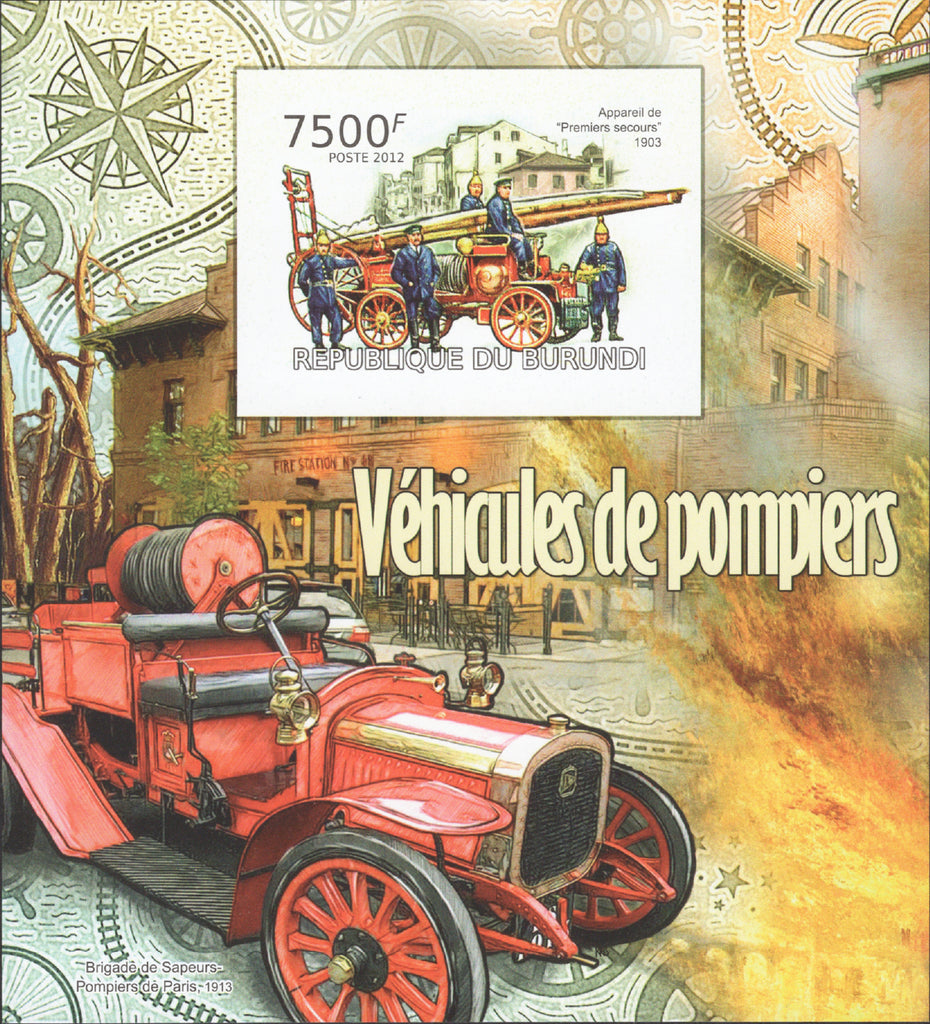 Firefighters Vehicles Transportation Imperforated Sov. Sheet MNH