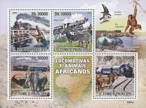 Locomotives and Animals Souvenir Sheet of 4 Stamps Mint NH